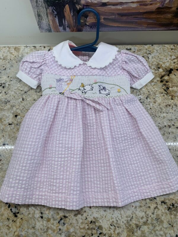 Smocked Embroidery Sheep Dress Size Pink/white 12M