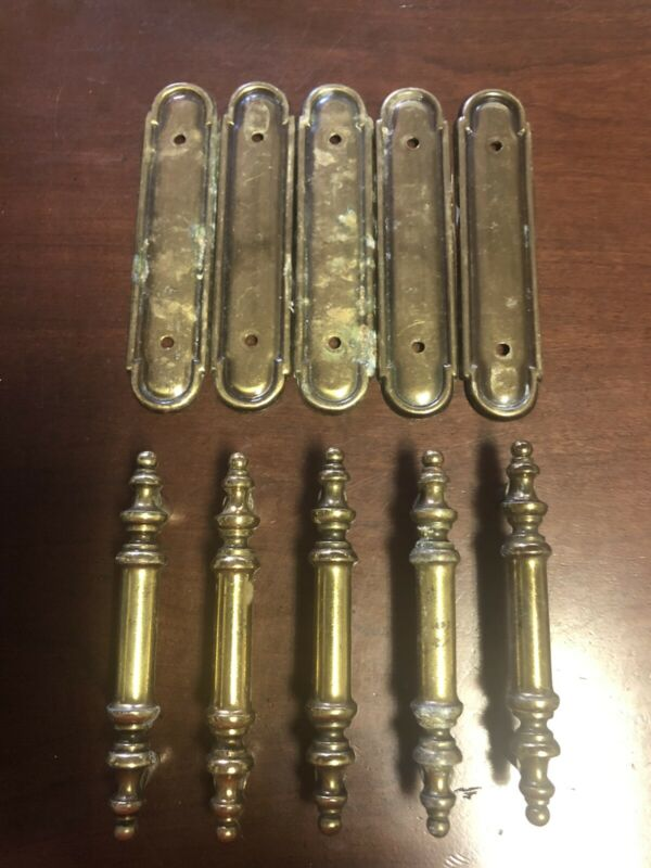 Set of 5 Vintage Cabinet Drawer Pulls Handles w/ Backplates Salvage