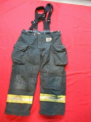 Morning Pride Fire Fighter Turnout Pants 42 X 30 Black Bunker Gear Suspenders