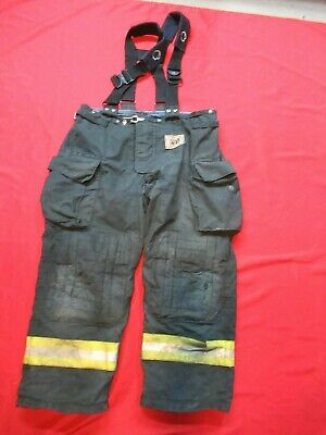 Morning Pride Fire Fighter Turnout Pants 42 X 30 Black Bunker Gear Suspenders