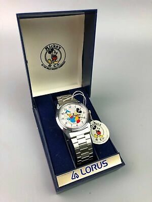 Mens Vintage Lorus Seiko Mickey Mouse & Donald Duck Watch Original Box & Tag