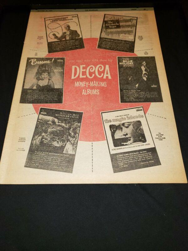 Decca Records Rare Original 1959 Promo Poster Ad Framed!