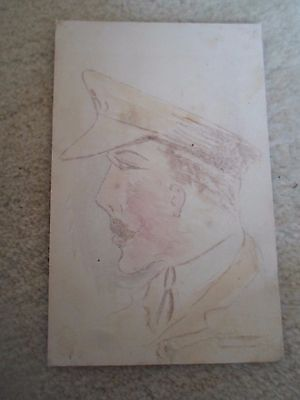 Rare Unique Old Colour Postcard MILITARY OFFICER Appears Hand Sketched Unsigned