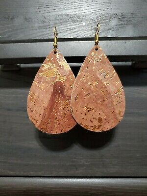 Handcut Teardrop Faux Leather Cork Earrings Brown with Gold Flakes  Golden Brown Earring