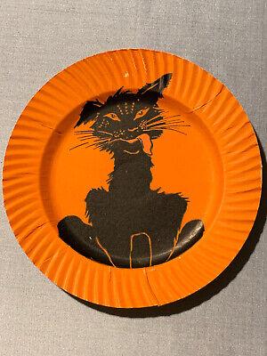 Antique Halloween Dennison Paper Plate Cat