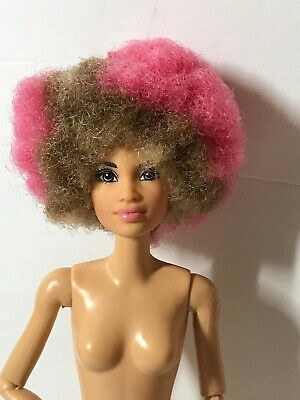Nude Barbie and the Rockers Doll 2017 Drummer Pink Tan Afro Articulated Jointed