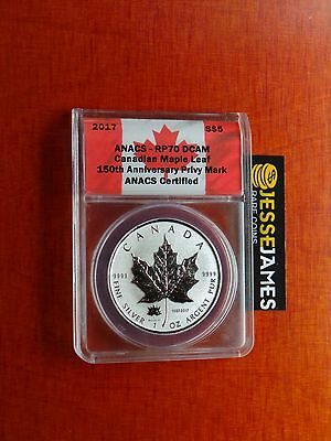 2017 $5 REVERSE PROOF SILVER MAPLE LEAF ANACS RP70 150TH ANNIVERSARY PRIVY MARK