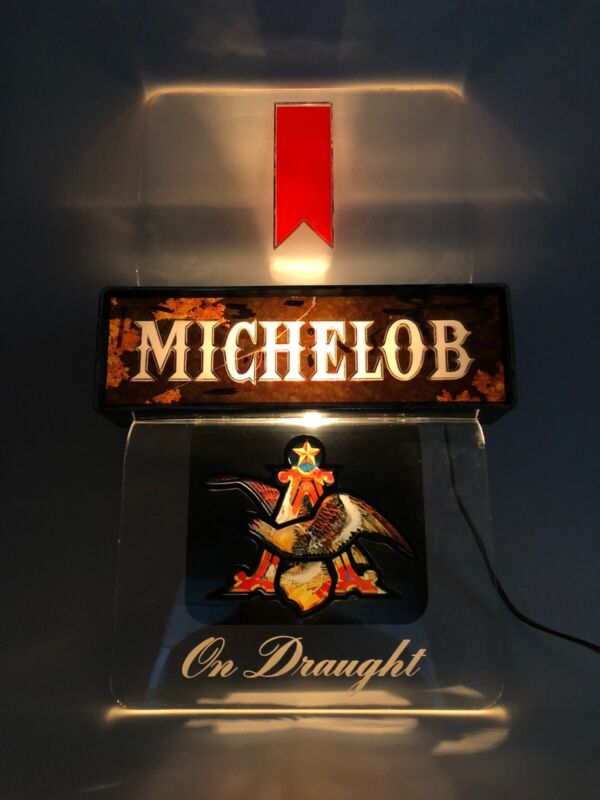 Vintage MICHELOB Draft Beer Bar Display Wall Sign Electric Light Up Brew USA 90s