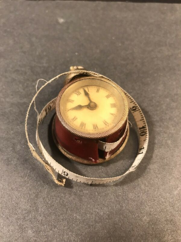 Antique Tape Measure Alarm Clock/ Red Celluloid / Germany Circa 1940