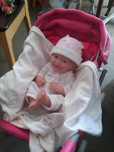 Beautiful new born baby beringer doll +pram vgc Meadow Springs Mandurah Area Preview