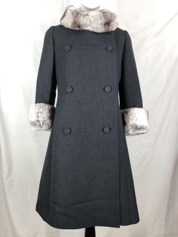 Monarch New York Vintage 50s 60s Wool Coat Fur Collar Cuffs Dark Grey A Line