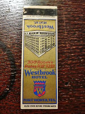 Vintage Matchcover: Westbrook Hotel, Fort Worth, TX C