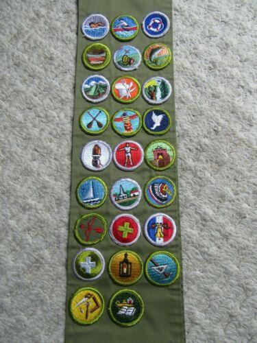 Vintage BSA Boy Scout 26 Merit Badge Patch sash rare lot