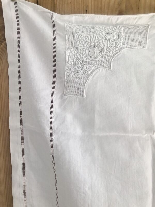 Pair of vintage French linen PILLOW SHAM embroideries c1930