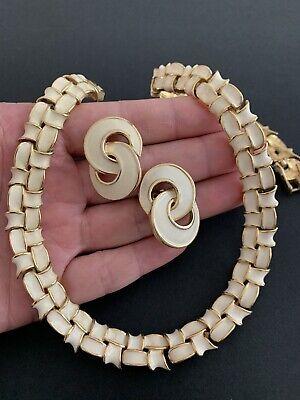 60s -70s Jewelry – Necklaces, Earrings, Rings, Bracelets Vintage 1950-1960's Signed Cream Enamel Chocker Necklace Earrings $48.38 AT vintagedancer.com