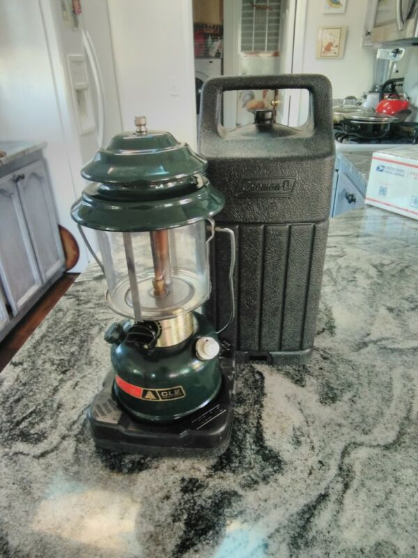 Coleman Gas Lantern 288 Glass Double Mantle Dated 3/84 Adjustable Works W/case