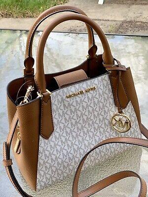 Michael Kors Kimberly Brown Vanilla  Signature Small Satchel  Tote Shoulder Bag