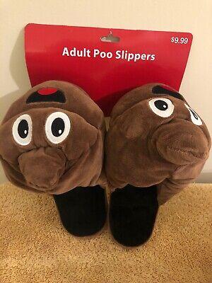 1pr Merry Brite Christmas Adult Poo Poop Emoji Novelty Slippers Sz M (7-8) ()