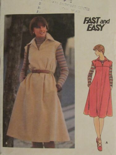 Lovely VTG 80s BUTTERICK 4948 MS Dress in 2 lengths PATTERN 12/34B NO TIE BELT!
