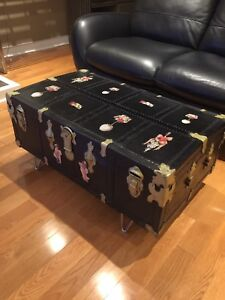 Antique Steamer Trunk- Coffee Table - Black Beauty