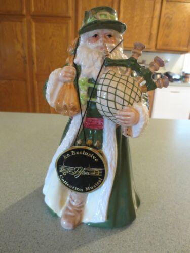 "Lefton IRISH SANTA with Bagpipes/ Music Box  8"" Christmas"