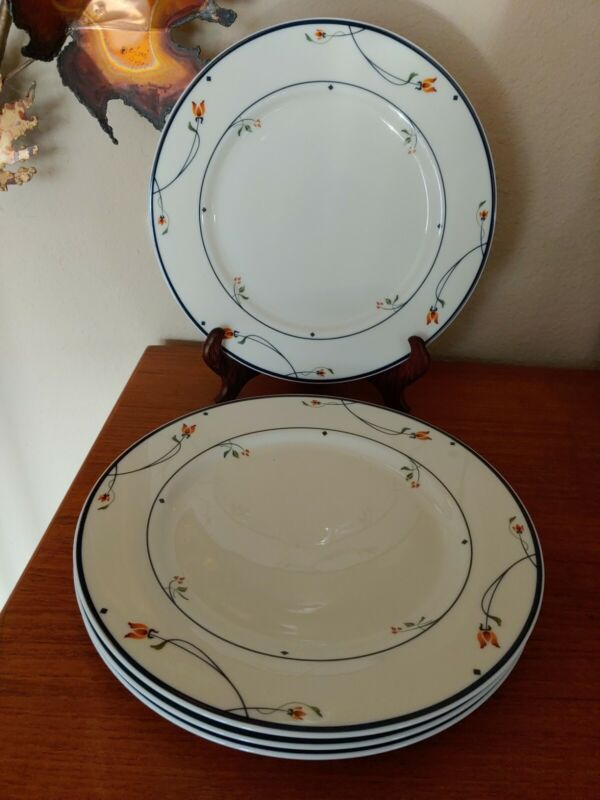 """Lovely Set Of 4 Gorham Town & Country Ariana Dinner Plates 10 5/8"""" A+ Condition"""