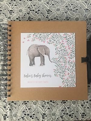 Personalised Baby Shower Memory Scrapbook - Pink Watercolour Elephant
