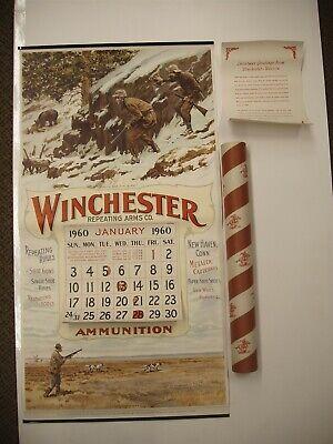 Rare Original 1960 Winchester Calendar A B Frost Graphics in original tube NOS