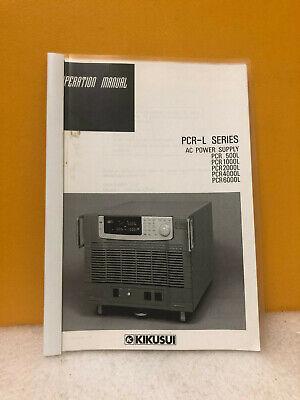 Kikusui Pcr-l Series Ac Power Supplies Operation Manual