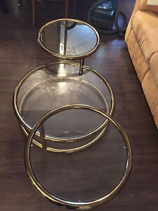 Swivel 3 tier brass coffee table