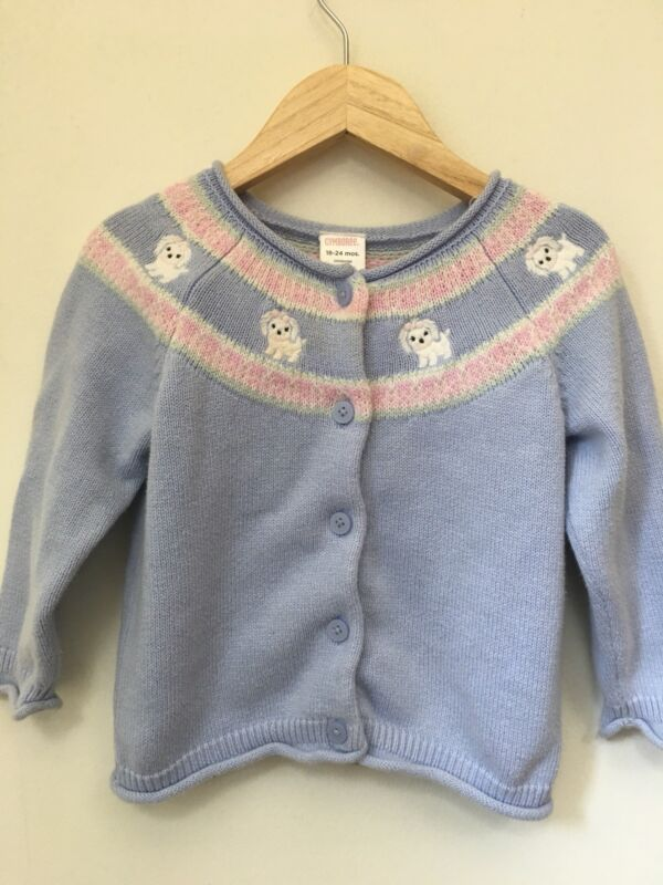 Gymboree poodle Dog Sweater Blue Pink 18-24 Months.