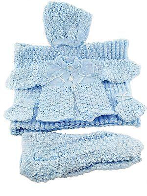 6 Pc Crochet Baby Set Blanket Pants Sweater Hat Booties -...