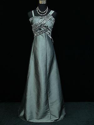 Cherlone Plus Size Satin Grey Long Ball Prom Wedding/Evening Gown Dress UK 20-22