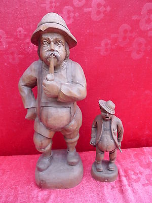 2 Old Wooden Figures__2 Carved Men __