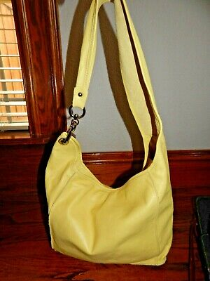 INNUE Made in ITALY Flourescent Yellow Leather Slouch Hobo Shoulder Purse!
