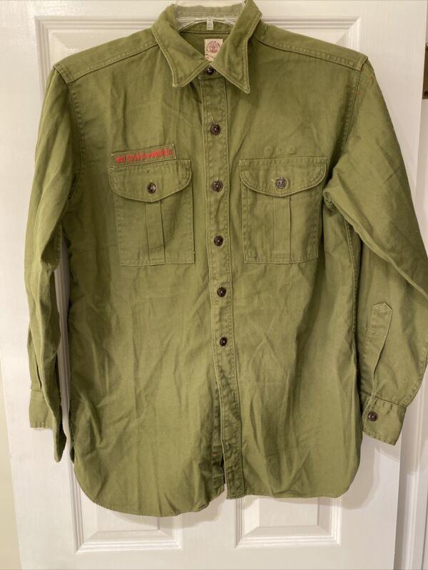 Vintage Olive Green BSA Boy Scout uniform shirt   #30