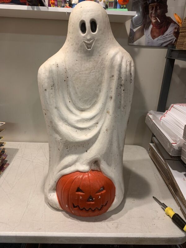 Vintage Blow Mold Halloween Ghost Pumpkin White Orange Canada Used