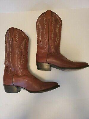 DAN POST Mens Sz 10.5 Wide Leather Western Cowboy Riding Work Biker Brown Boots