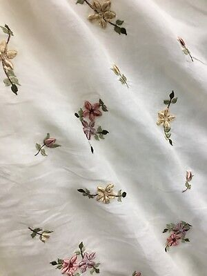- IVORY PINK GREEN FLORAL EMBROIDERED BEADED 100% COTTON VOILE FABRIC (44 in.) BTY