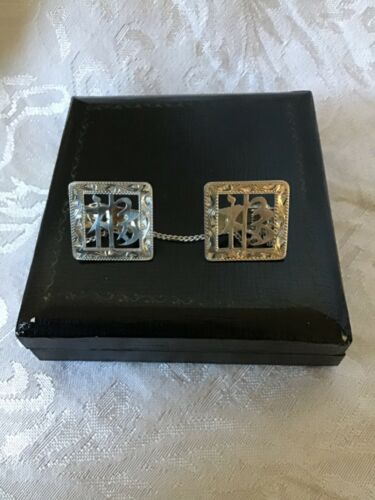 Vintage Sterling Silver Sweater Clips in box Japanese Script Words 7.9g Om? Aum?