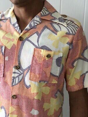 ea48b953 Vintage 50s 60s Napili Aloha Bark Cloth Hawaiian USA Made Mens M Captain  Shirt