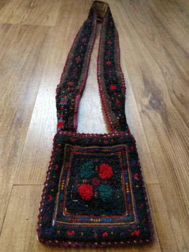 Antique transylvanian romanian full embroidered small linen bag from Mara Mures