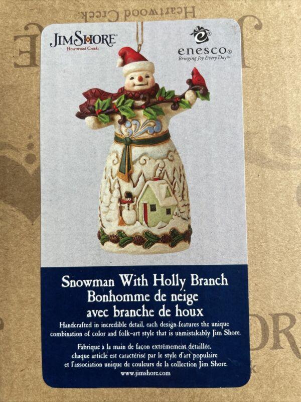 Jim Shore Snowman With Holly Branch Ornament • Folk-Art Style Snowman • NEW