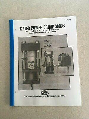 Gates Pc3000b Hydraulic Hose Crimper Machine Operators Instruction Manual