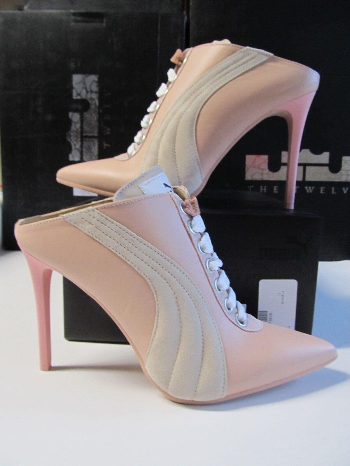 Women Puma FENTY RIHANNA Lace Up Mule Heel $400 ITALY Pink LEATHER 7.5 364468 01