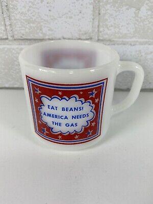 Vintage Federal Glass Eat Beans America Needs The Gas Advertising Milk Glass Mug