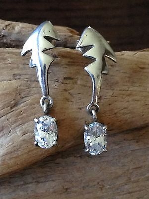 Beautiful Crafted vintage Dangle earrings W/ Drop CZ sterling silver,925