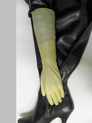 12 Paar,40 cm lange Latexhandschuhe,Latex-Gloves,Gants, Reinraumhandschuhe,S/7