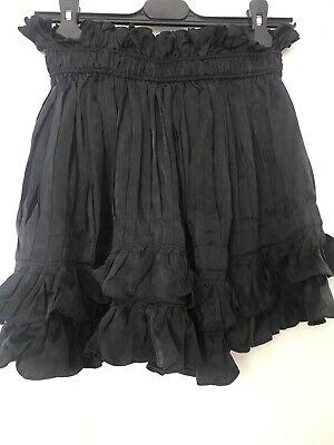 isabel marant black silk ruffle skirt size 40 but size smaller like 38