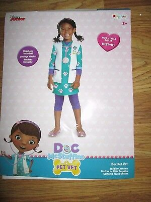 Girls Disney DOC MCSTUFFINS PET VET Halloween Costume 3T - 4T toddler Disguise - Vet Costume